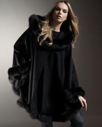 Sofia Cashmere - Fox-trimmed Cashmere Cape - Lyst