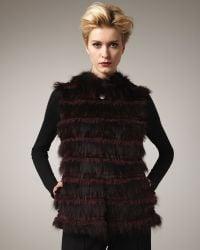 Tasha Tarno Tiered Fur Vest, Burgundy - Lyst