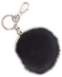 MICHAEL Michael Kors Pompom Key Chain black - Lyst