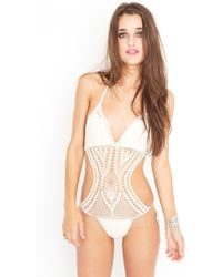 Nasty Gal Cutout Crochet Swimsuit - Cream - Lyst