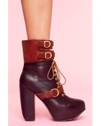 Nasty Gal Andee Strapped Boot - Brown - Lyst