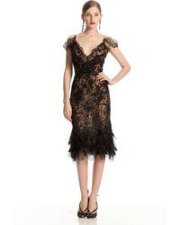 Oscar de la Renta Feather Hem Dress - Lyst