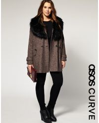 ASOS Collection Asos Curve Oversized Fur Collar Coat - Lyst
