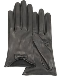 Forzieri Leather Gloves With Bow black - Lyst