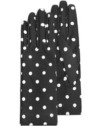 Forzieri Womens Black and White Polkadot Gloves - Lyst
