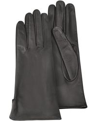Forzieri Women'S Black Calf Leather Gloves W/ Silk Lining - Lyst