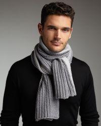 Armani - Large-gauge Knit Scarf - Lyst