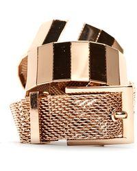 Mango Touch - Metalic Belt gold - Lyst
