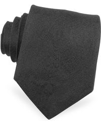 Roberto Cavalli - Solid Black Python Textured Narrow Silk Tie - Lyst