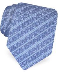 Roberto Cavalli - Blue Logo Stripe Woven Silk Tie - Lyst