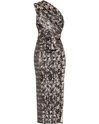 Aminaka Wilmont - Printed Silk One-shoulder Dress - Lyst