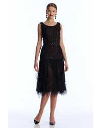 Oscar de la Renta Dress with Feather Hem - Lyst