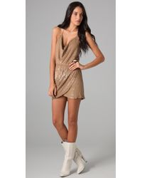 Haute Hippie Sequin Halter Cowl Dress - Lyst