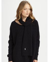 Ralph Lauren Blue Label - Cable-knit Wool Scarf - Lyst