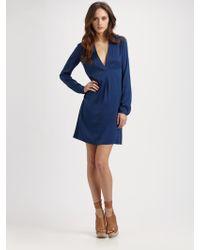 Vince Silk V-Neck Shirt Dress - Lyst