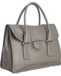 Prada Clay Calfskin Leather Flap Front Tote - Lyst