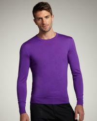 Ralph Lauren Black Label - Crewneck Merino Sweater, Purple - Lyst