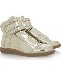 Maison Margiela Metallic High-top Leather Sneakers - Lyst