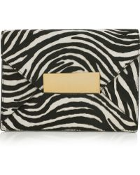 Michael Kors Quinn Zebra-Print Calf Hair Clutch - Lyst
