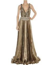 Marchesa Embellished Metallic Organza Gown - Lyst