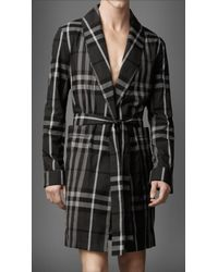 Burberry - Beat Check Cotton Robe - Lyst