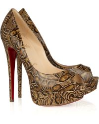 Christian Louboutin Lady Peep 150 Textured Leather Pumps - Lyst