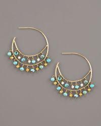 Padma - Turquoise & Pearl Hoop Earrings - Lyst