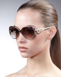 Roberto Cavalli Soft Oval Metal & Resin Sunglasses - Lyst