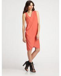 L'Agence Drape Dress - Lyst