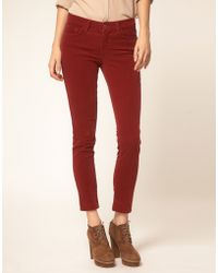 J Brand Mid Rise Skinny Ankle Cord Jeans In Black Cherry - Lyst