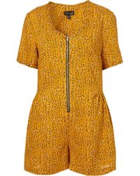 Topshop Grunge Ditsy Playsuit - Lyst