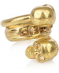 Alexander McQueen Double Skull Ring gold - Lyst