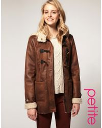 Asos collection Asos Petite Faux Shearling Duffle Coat in Brown | Lyst