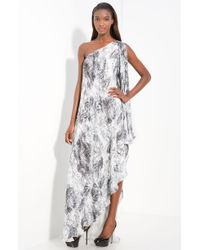 Halston Heritage Silk One Shoulder Gown - Lyst
