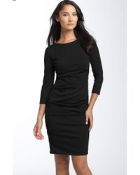 Nicole Miller Ruched Ponte Knit Sheath Dress - Lyst