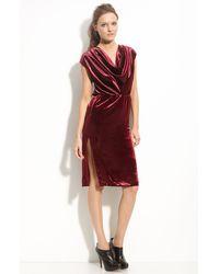 Radenroro Asoka Drape Neck Velvet Dress - Lyst