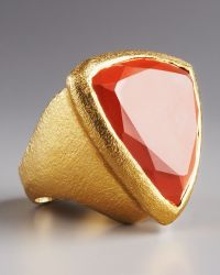 Stephanie Anne Carnelian Trillion Ring gold - Lyst