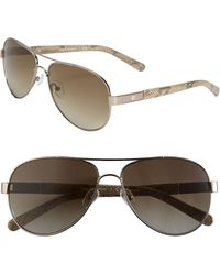 Tory Burch Metal Aviator Sunglasses with Resin Temples - Lyst