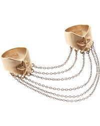 Wildfox - Gold Double Finger Ring - Lyst