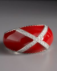 Zasha Diamond Enamel Ring, Red - Lyst