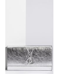 Saint Laurent Belle De Jour Metallic Envelope Clutch - Lyst