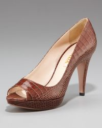 Prada Exclusive Crocodile-print Open-toe Pump - Lyst