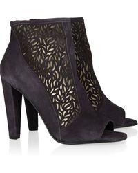 Diane von Furstenberg Angel Cutout-panel Suede Ankle Boots - Lyst