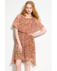 Ella Moss Desert Bloom Ruffled Silk Chiffon Dress - Lyst