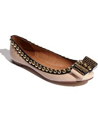Jeffrey Campbell The Dauphine Flat in Nude Patent and Black - Lyst
