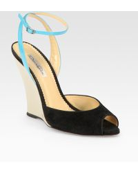 Oscar de la Renta Leather and Suede Peep Toe Wedge Sandals - Lyst