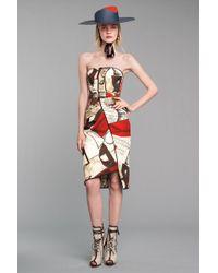 Oscar de la Renta Newsprint Strapless Dress - Lyst