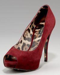 Dolce & Gabbana Leopard-lined Suede Peep-toe Pump - Lyst