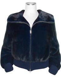 Forzieri Blue Mink Fur Bomber Jacket - Lyst