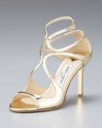 Jimmy Choo Mirrored Leather Crisscross Sandal - Lyst